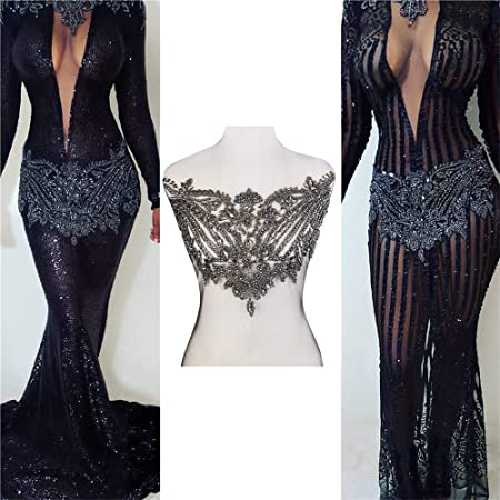 Bodice Crystal Beaded Chest Applique Fagnzhidi Half Black Vintage Design Rhinestone Appliques Fabric Lace Embroidered Patch For Sewing On Prom Wedding Dress Bridal Costume Photograph Shot Performance