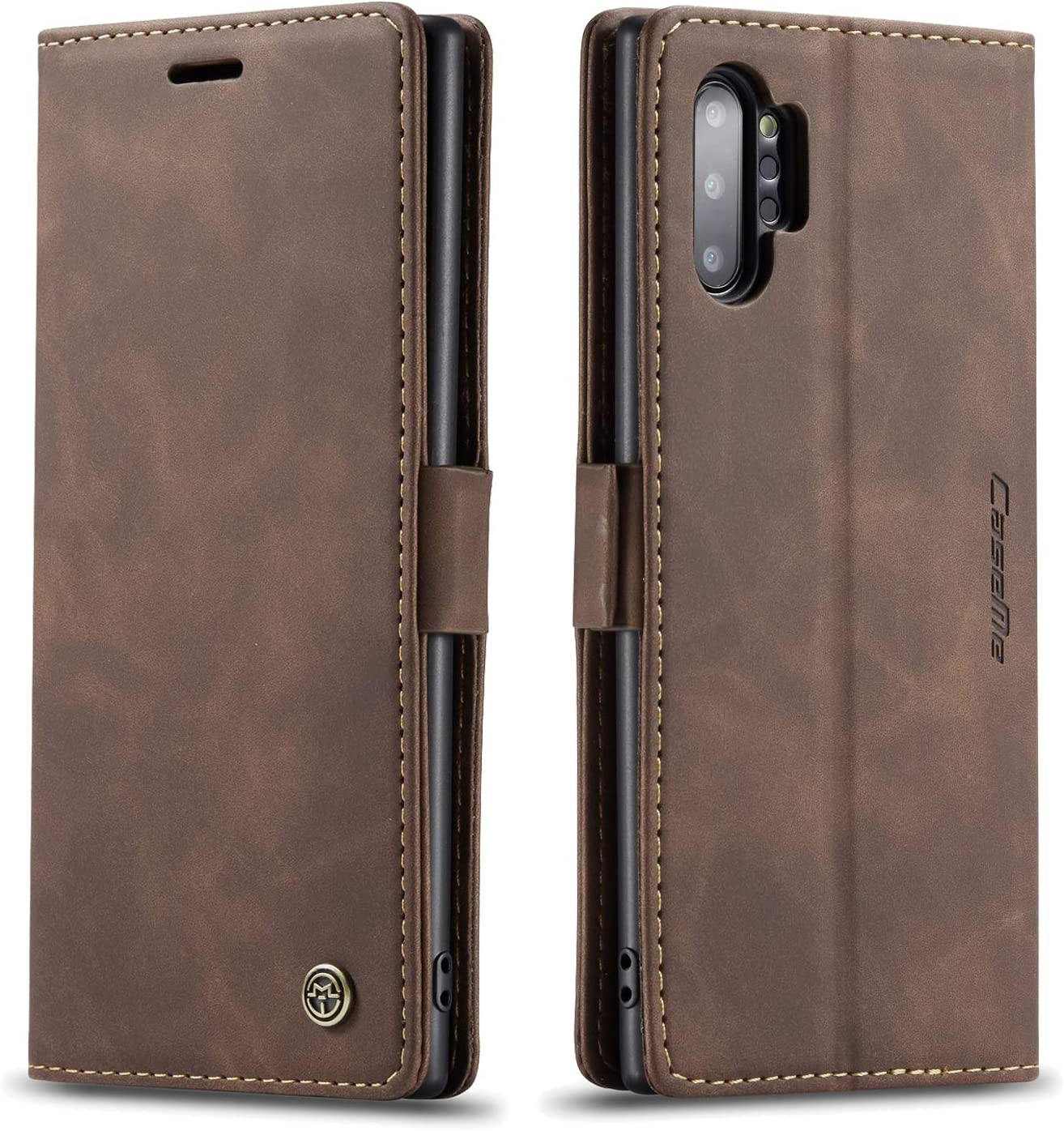 """Samsung Galaxy Note 10+ Plus Wallet Case, Magnetic Stand Flip Protective Cover PU Leather Flip Case with ID & Credit Card Slots Cash Pockets for Samsung Galaxy Note 10 Plus 6.8"""" (Coffee)"""