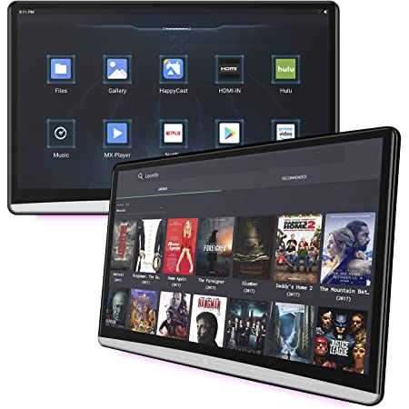 """13.3"""" Android 9.0 Car Headrest Video Players with WiFi, Dual Rear Seat TV Monitors Can Sync Screens, IPS Touch Screen 4K Tablets, HDMI Out/in Bluetooth FM USB Micro SD Card-KK133SC"""
