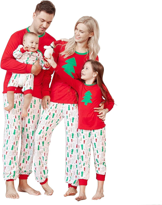 Mumetaz Family Pajamas Set Christmas Tree Patterns Pants Plaid Sleepwear Reindeer Pjs Matching Clothes