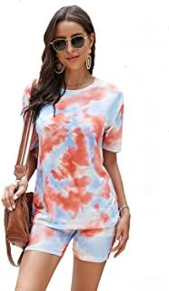 Womens Tie Dye Printed Short Sleeve Tops and Shorts 2 Piece Pajamas Sets