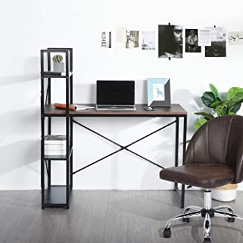 HOMEMAKE FURNITURE Escritorio de computadora con Estante de Almacenamiento/Escritorio de Oficina Grande/Escritorio de Estudio Multifuncional con Cuatro estantes/Marrón
