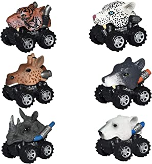 dmazing Pull Back Animal Car for 3-5 Year Old Boys, Car Toys with Big Tire Wheel for 3-6 Year Old Toys Christmas Xmas Creative Gifts for Toddlers Boys Girls Stocking Stuffers Stocking Fillers 6 Pack