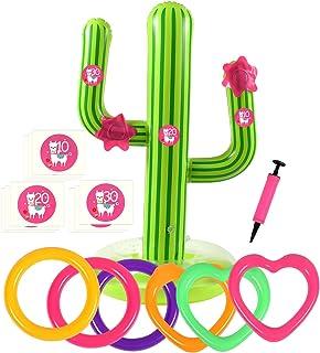 Bascolor 17Pcs Inflable Juegos de Lanzamiento con Cactus inflable Anillo inflable del lanzamiento Número Pegatinas y Flamingo Caja Regalo para Juegos Exterior niños Adulto Piscina Juego Mexican Fiesta