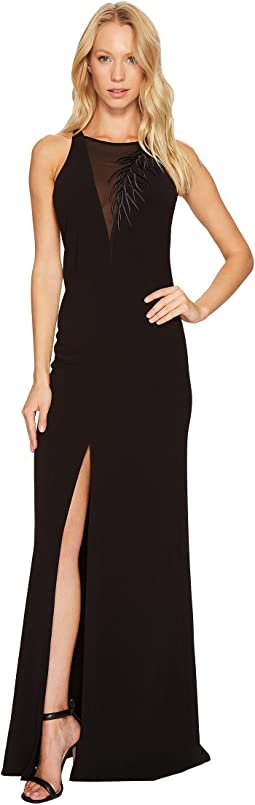 Halston Heritage - Sleeveless Crepe Gown w/ Front Embroidery Detail