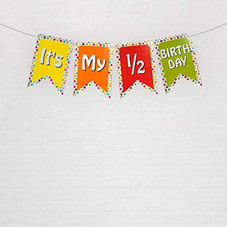 FESTIKO Half Birthday Party Decoration (It's My 1/2 Birthday Multi Color Banner) for 6 Months