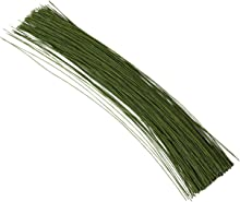 Juvale 300 Pieces Floral Stem Wire 16 Inches 24 Gauge for DIY Crafts and Flower Arrangements – Dark Green