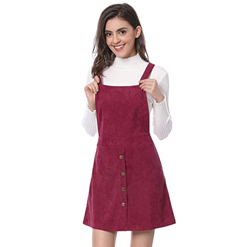 9191773ffa Allegra K Women s Straps Button Decor A-line Pinafore Corduroy Overall Dress