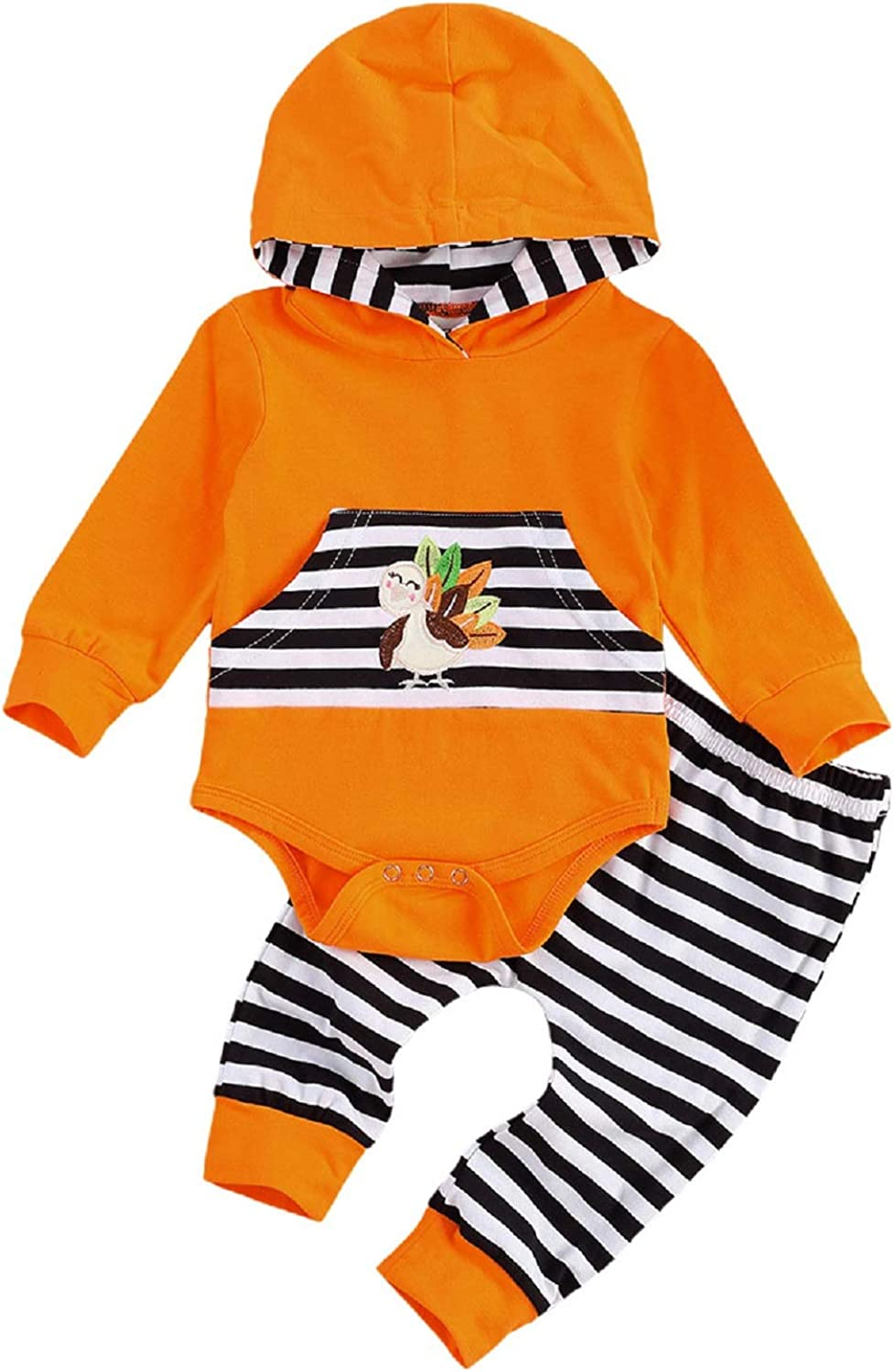 KMBANGI Newborn Baby Thanksgiving Outfits Turkey Hooded Romper Brown Sripe Pants Clothes