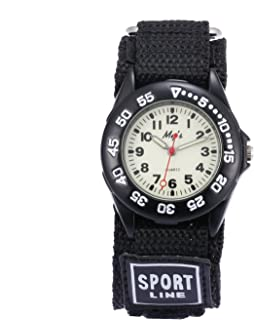 Jewtme Kids Children Nylon Strap Luminous Dial Outdoor Sports Analog Display Watch for Boys Girls-Black