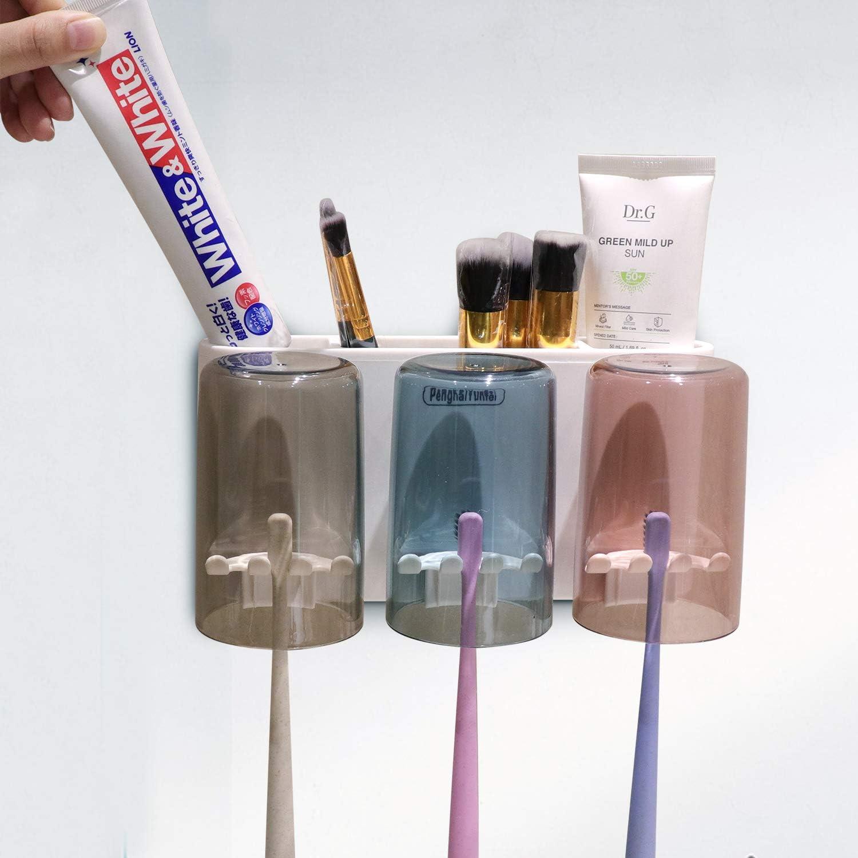 2 Tazas Soporte para Cepillo de Dientes el/éctrico para ba/ño Juego de Soporte para Cepillo de Dientes para Pareja montado en la Pared PenghaiYunfei Soporte para Cepillo de Dientes