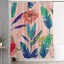 Jxrodekz Banana Leaves Hibiscus Leopard Seamless Polyester Fabric Shower Bath Curtain for Bathroom Decorative