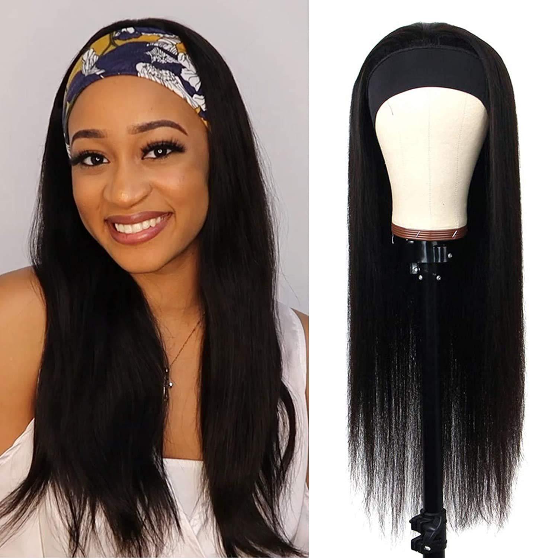 大人気 Headband Human Hair Wig None Lace 百貨店 Brazilian Front Machine V Made