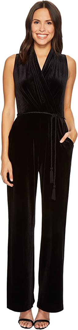 Velvet Gathered Surplice Bodice Jumpsuit