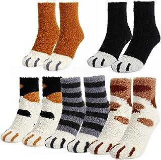 Calcetines de forro polar para mujer, cálidos, mullidos, con diseño de garras de gato, antideslizantes, para el invierno, para interiores y el hogar