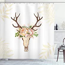 Ambesonne Antler Decor Shower Curtain by, Horns Soft Flowers Bouquet Spring Nature Theme Rustic Home Decor, Fabric Bathroom Decor Set with Hooks, 75 Inches Long, Peach Light Pink Brown