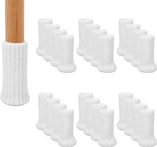 AIRUJIA Calcetines para patas de silla, 32 piezas de punto elásticos para muebles, protectores de suelo, doble grosor, para patas cuadradas redondas con diámetro de 2,5 a 5 cm (blanco)