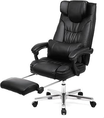 SONGMICS オフィスチェア オットマン付き パソコンチェア 社長椅子 リクライニング ハイバック ネックピロー設計 OBG075B01