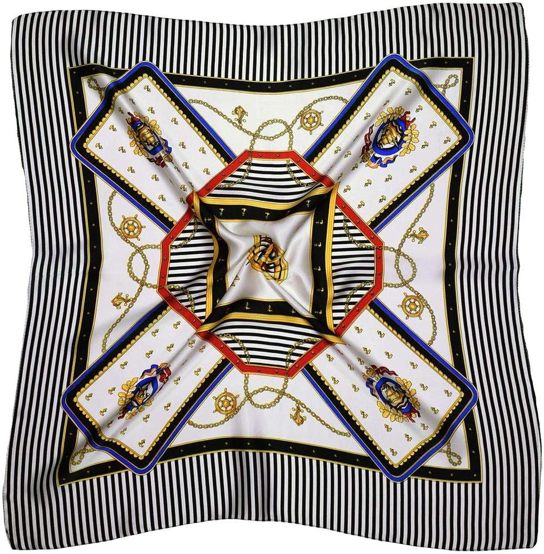 White Black Compass Thick Small Silk Square Scarf