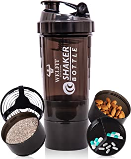 ASU Protein Shaker Bottles For Protein Mixes Spider Blender Bottle With Stainless Steel Ball-500ML 2 Twist On Cups For Pro...
