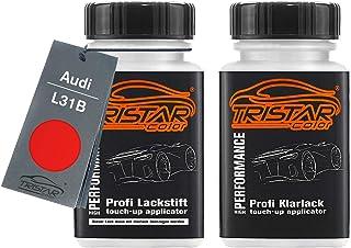 TRISTARcolor Autolack Lackstift Set für Audi L31B Marsrot Basislack Klarlack je 50ml