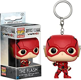Funko The Flash Pocket POP! x Justice League Mini-Figural Keychain + 1 Official DC Trading Card Bundle (13791)
