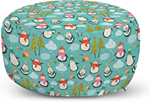 Ambesonne Christmas Ottoman Pouf, Happy Noel Themed Cartoon Pattern with Penguins Gifts Clouds and Trees, Decorative Soft Foot Rest with Removable Cover Living Room and Bedroom, Seafoam Multicolor