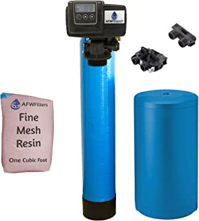 AFWFilters IRONPRO2 Pro 2 Combination Water Softener Iron Filter Fleck 5600SXT Digital metered Valve for Whole House (32,000 Grains, Blue), 32, 000