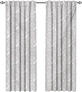 shenglv Paisley, Curtains Unique, Abstract Modern Patterned Background with Flowers Leafs and Ivy Plant Artwork, Curtains Nursery, W72 x L108 Inch, Grey and White
