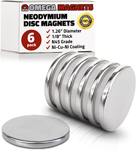 Strong Neodymium Disc Magnets (6 Pack) - 2X Stronger, 2X Thicker, Powerful, Small, Round, Rare Earth Magnets - N45 In...