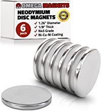 """Strong Neodymium Disc Magnets (6 Pack) - 2X Stronger, 2X Thicker, Powerful, Small, Round, Rare Earth Magnets - N45 Industrial Strength NdFeB Magnet Set for Fridge, DIY, Crafts - 1.26"""" x 1/8"""""""