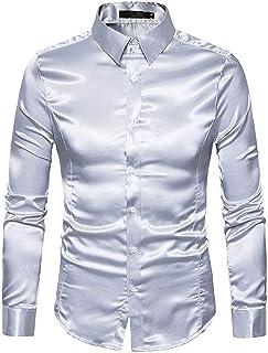 12001d388b Sunonip Camicia in Seta da Uomo in Raso Liscio da Uomo in Tinta Unita  Business Chemise