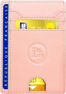 Porte Carte De Credit et Pièce Identité - Protection Cartes bleue Sans Contact - Petit Etui Cuir Slim Protege Contre Le pi...