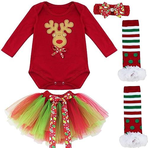 iEFiEL Conjunto Infantil de Carnaval Navidad Reyes Fiesta Body Pelele + Falda Estilo de Vestido Algodón
