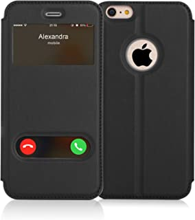 iPhone 6S Case,iPhone 6 Case, FYY Magnetic Cover Stand Case with Window View Function for Apple iPhone 6/6S Black