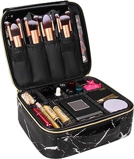 Relavel Marble Makeup Bag Large Makeup Organizer Bag Travel Train Case Portable Cosmetic Artist Storage Bag with Adjustabl...