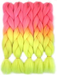 VCKOVCKO Ombre Candy Colors Jumbo Braiding Hair Extension Synthetic Kanekalon Fiber for Twist Braiding Hair,Fluorescent Green Kanekalon Jumbo Box Braiding Hair 24