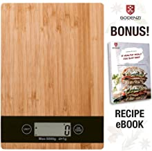 Godenzi Kitchen Scale, Bamboo, Multifunction Digital LCD, Tare, 5kg Capacity with Recipe Ebook & Batteries