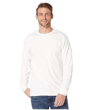 Hanes Beefy-T Crew Neck Long Sleeve T-Shirt (White) Men