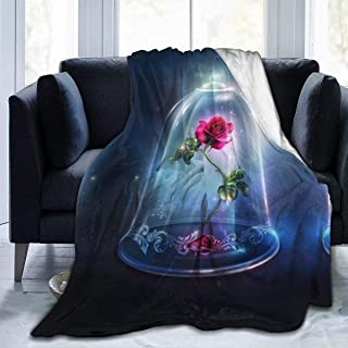 LJYDZY Premium Flannel Fleece Blanket- Beauty and Beast Rose Soft Warm Cozy Micro Blanket for Sofa Couch