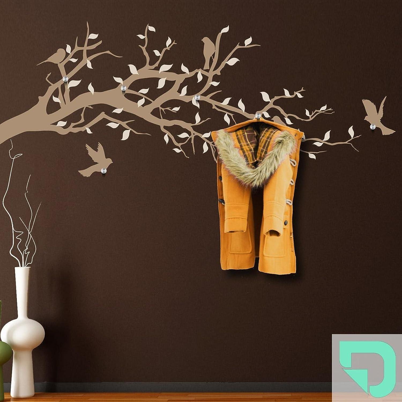 DESIGNSCAPE Garderobe Ast mit Vgel und Bltter 120 x 52 cm (Breite x Hhe) Farbe 1  mint inkl. 6 Edelstahl Wandhaken DW811004-M-F36