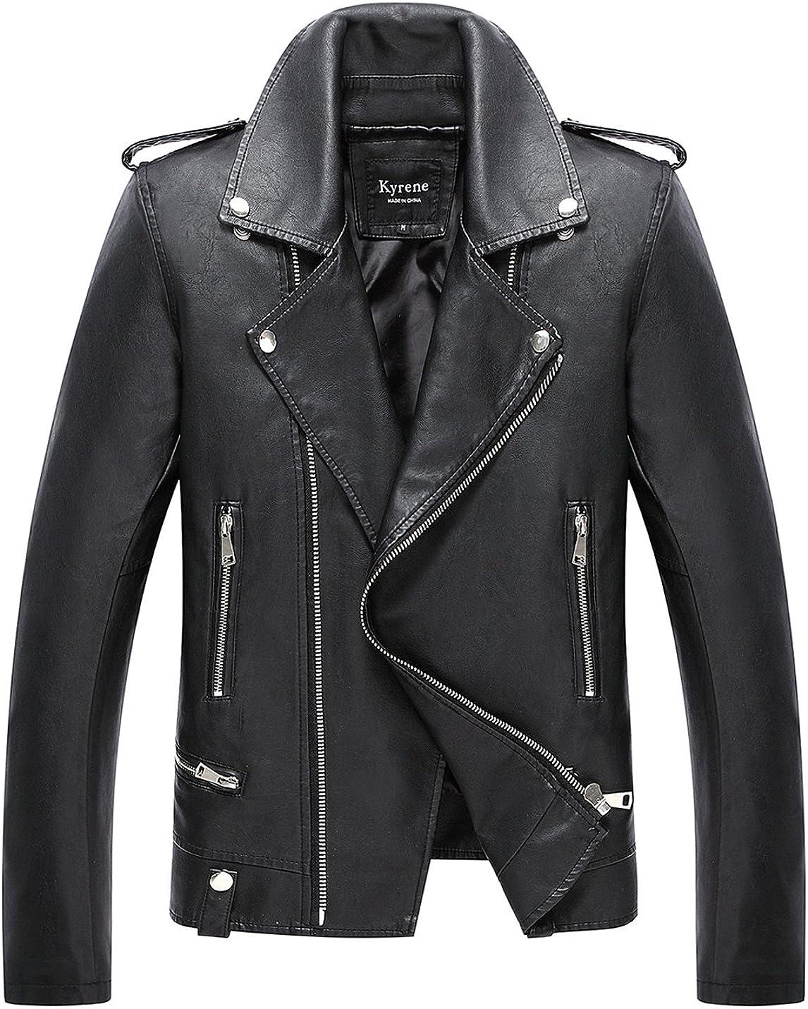 Lentta Men's Casual Slim Short Moto Motocycle Faux PU Leather Jacket Black