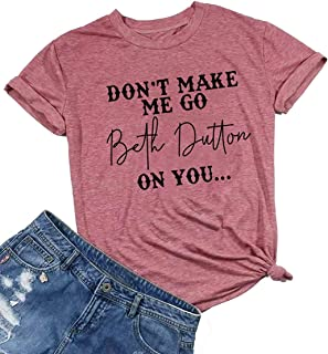 HRIUYI Vintage Beth Dutton Shirts Women Short Sleeve Graphic Country Music Tees Tops
