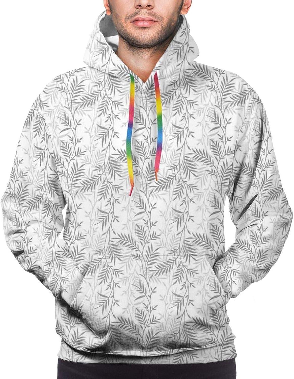 TENJONE Men's Hoodies Sweatshirts,Monochrome Abstract Leaves Rural Field Romantic Natural Pattern