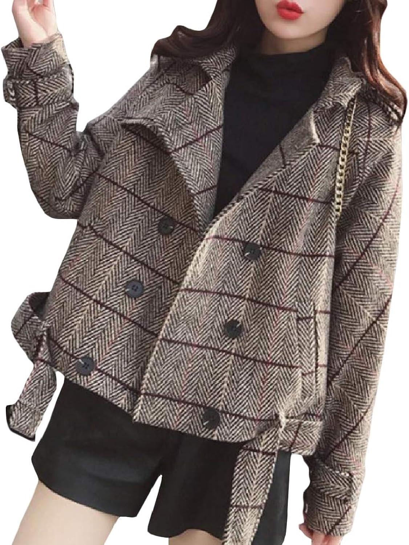 color&W Women's Plaid Woolen Pockets Mini Lapel DoubleBreasted Coat Jacket
