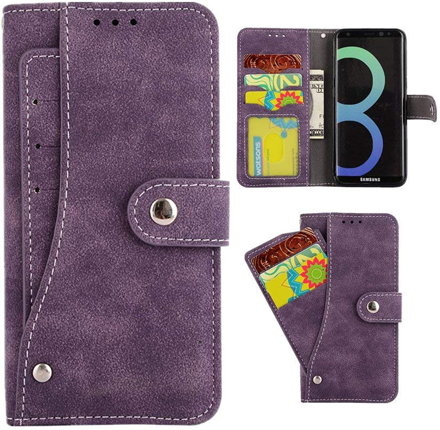 Galaxy s8 Plus case, s8+ case, vpr Premium pu Leather Wallet [New] [Card Holder] Strong Magnetic Closure flip Predective Cover with Card Slots Stand for Samsung Galaxy s8 Plus  s8+ (Purple)