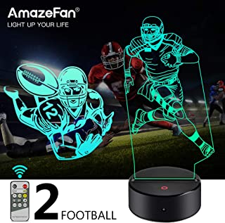 AmazeFan Football/Soccer Night Light for Kids - 3D Rugby Night Lamp 7 Colors Optical Illusion Touch & Remote Control with 2 Acrylic Flats Best Birthday Christmas New Year Gifts for Boys Girls Baby