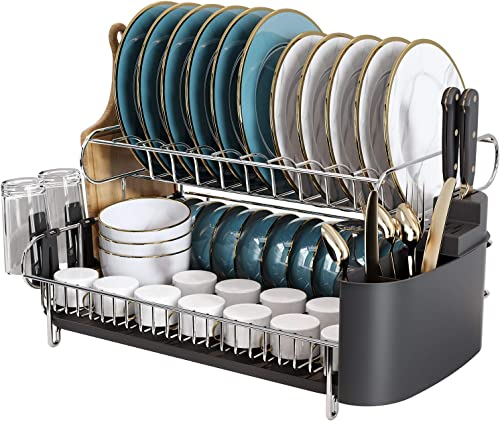 new arrival 2 Tier Large Dish Drying Rack, Boosiny 304 Stainless Steel outlet online sale Dish Rack and Drainboard Set for Kitchen Counter, Big Dish Drainer with Cutting Board Holder, lowest Utensil Holder and Cup Holder(Side Drain) online sale
