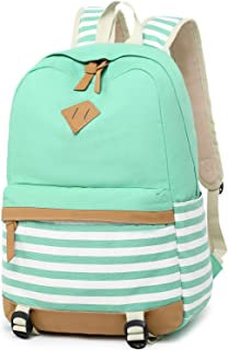 BLUBOON Canvas School Backpack Teen Girls Bookbag Women Travel Laptop Daypack (8810-A-Water Blue)