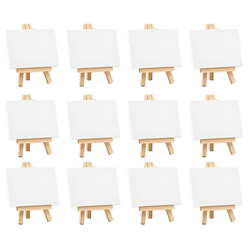 3x4 Inch Mini Canvas & Easel Set- Bulk Pack of 12, Set Contains: 12 Mini Canvases & 12 Mini Easels,Small Stretched White Blank Canvas Panels & Wood Easels for Painting Craft Drawing Decoration.